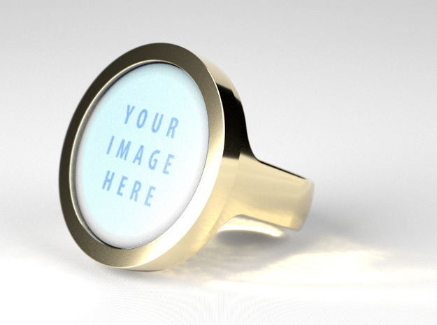 Circular Signet Ring - Insert in Glossy Full Color Sandstone