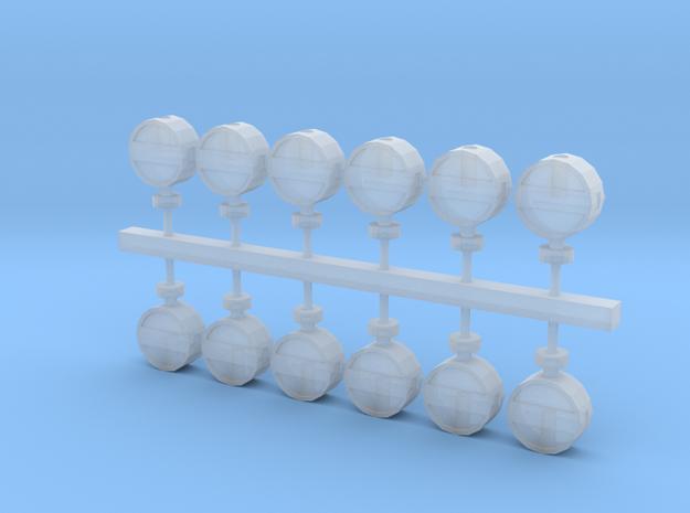 12 bayerische Lampenkästen für Gleissperren in Smoothest Fine Detail Plastic
