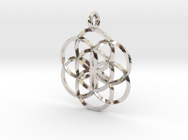 Seed Of Life in Rhodium Plated Brass