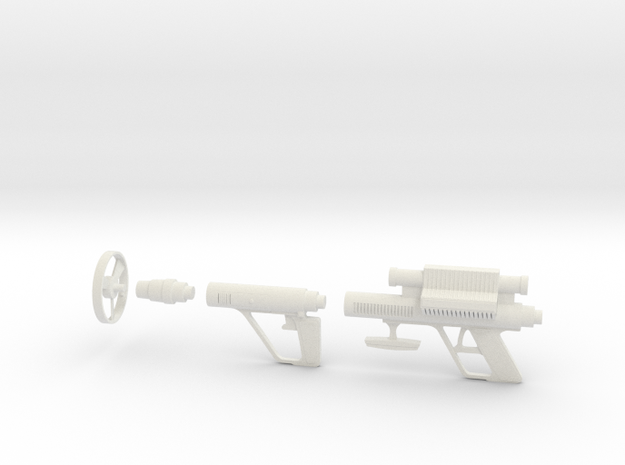 Lost in Space Roto-Jet Gun - Larger Scale Weapon in White Natural Versatile Plastic