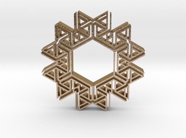 Tribal hangerless pendant 4 in Polished Gold Steel