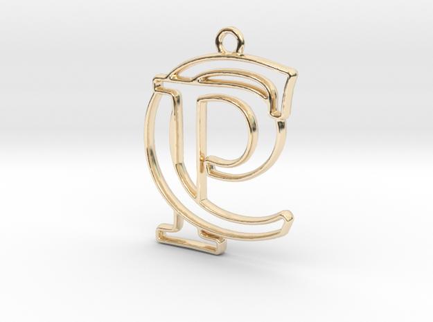 Initials C&P monogram in 14k Gold Plated Brass