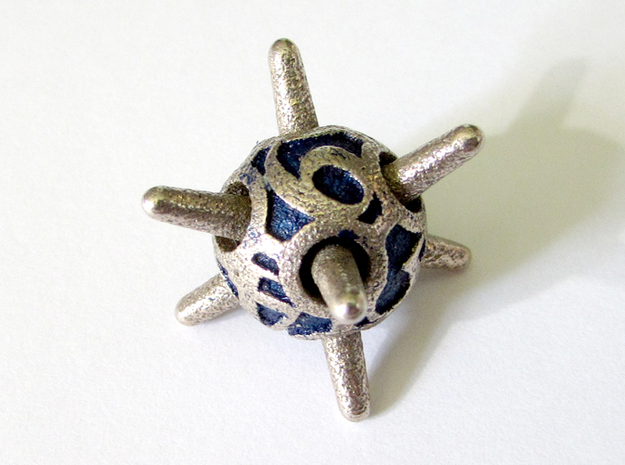 Sputnik Die6 3d printed In Stainless Steel and inked