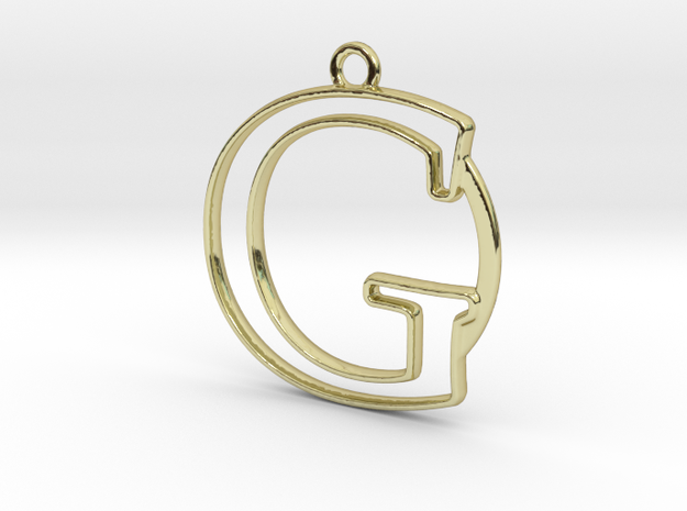 Initial G & circle  in 18k Gold Plated Brass