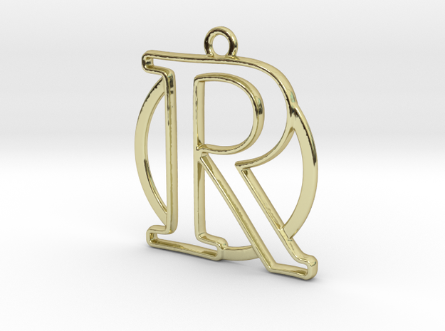 Initial R & circle  in 18k Gold Plated Brass