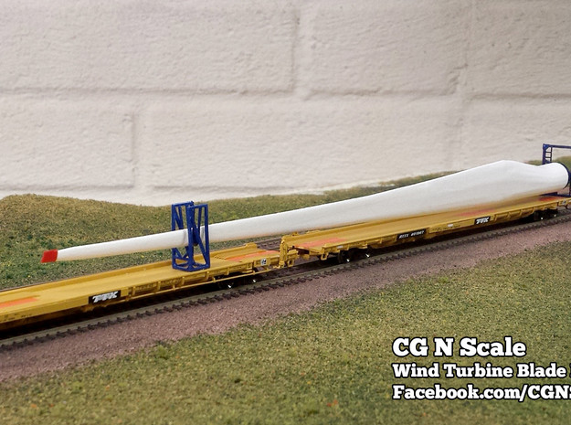 N Scale Wind Turbine Blades - 3 Pack (Part 2 of 2) in White Strong & Flexible