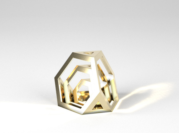 Encompassing Tetrahedron - Pendant in Polished Brass (Interlocking Parts)