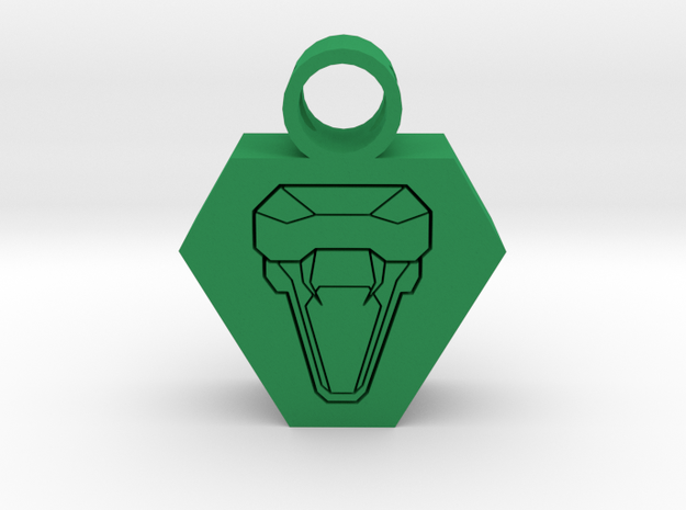snake head pendant 2 in Green Processed Versatile Plastic