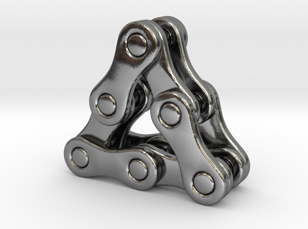 triangle of a bike chain [pendant] in Polished Silver