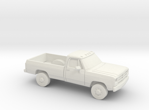 1/87 1988-91 Dodge Ram Regular Cab in White Natural Versatile Plastic