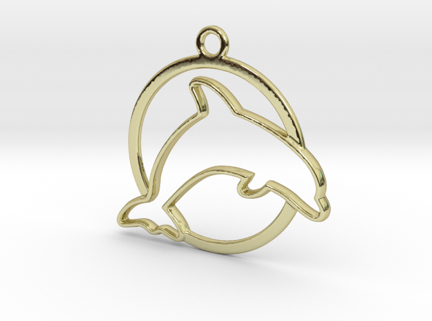 Dolphin & circle intertwined Pendant in 18k Gold Plated Brass