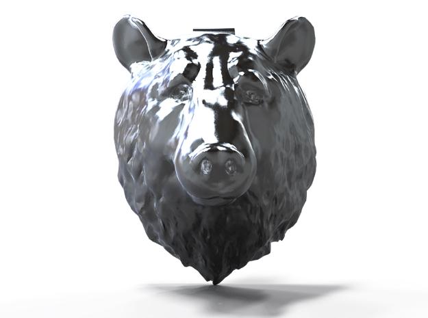 Bear Head Pendant in Natural Silver