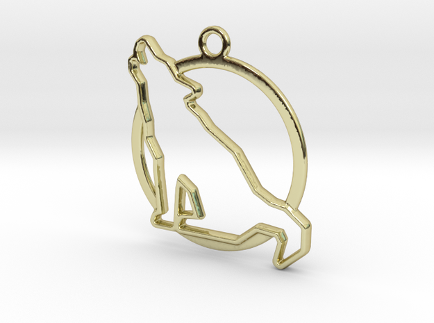 Wolf & circle intertwined Pendant in 18k Gold Plated Brass