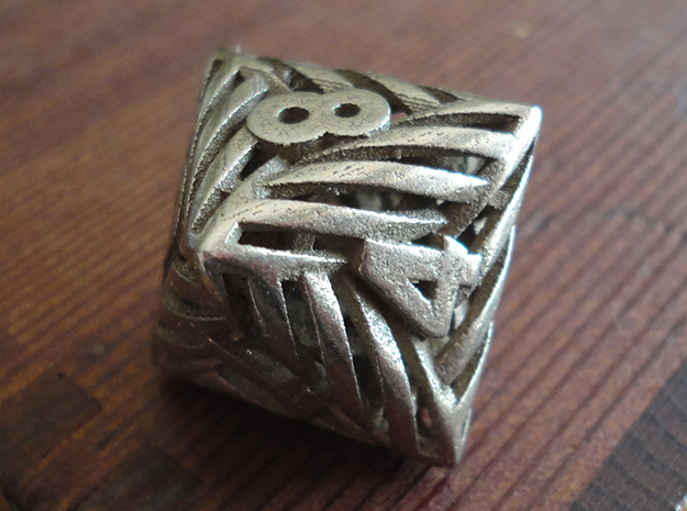Helix Die8 in Polished Bronzed-Silver Steel