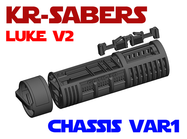 KR Luke V2 - Lightsaber Chassis Var1 in White Natural Versatile Plastic