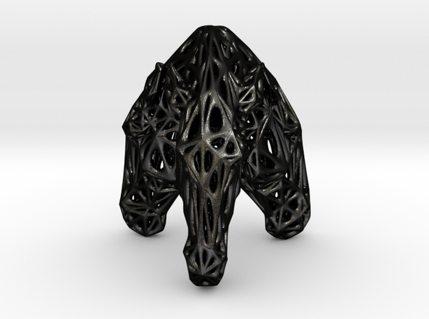 Triple Voronoi Marwari Horse (001) in Matte Black Steel
