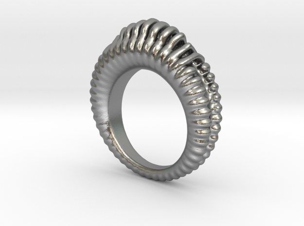 Fading Sound Ring in Natural Silver