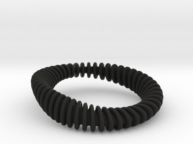 BRACELET_WAVE 01a3 smaller in Black Natural Versatile Plastic