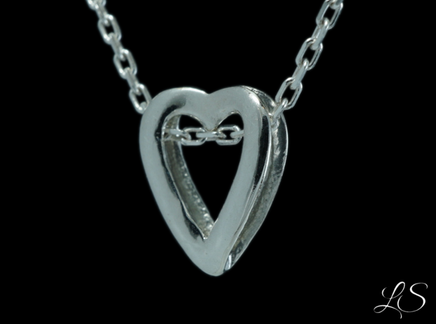 Dual Heart Pendant in Polished Silver: Small