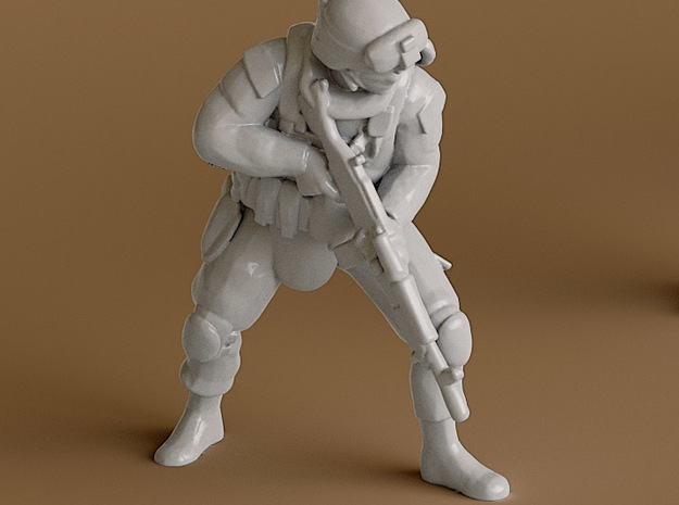 2 soldier no base (1:64 scale) in Smooth Fine Detail Plastic