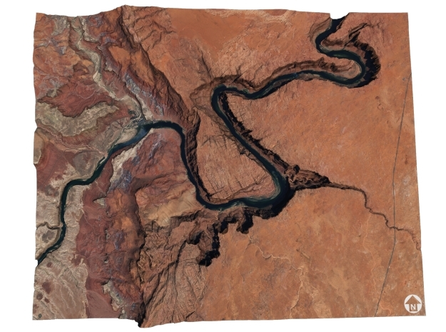 Horseshoe Bend Map, Arizona in Matte Full Color Sandstone
