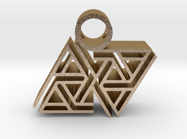 tribal pendant 7 in Polished Gold Steel