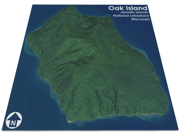 Oak Island Aerial Map: 5 Inch in Matte Full Color Sandstone