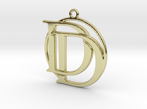 Initials D&D and circle monogram in 18k Gold Plated Brass