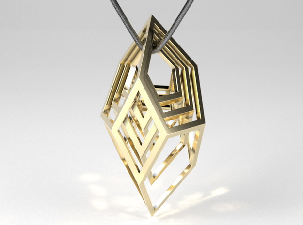 Encompassing Shard - Pendant in Polished Brass (Interlocking Parts)