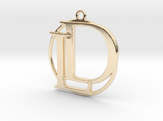 Initials D&L and circle monogram in 14k Gold Plated Brass