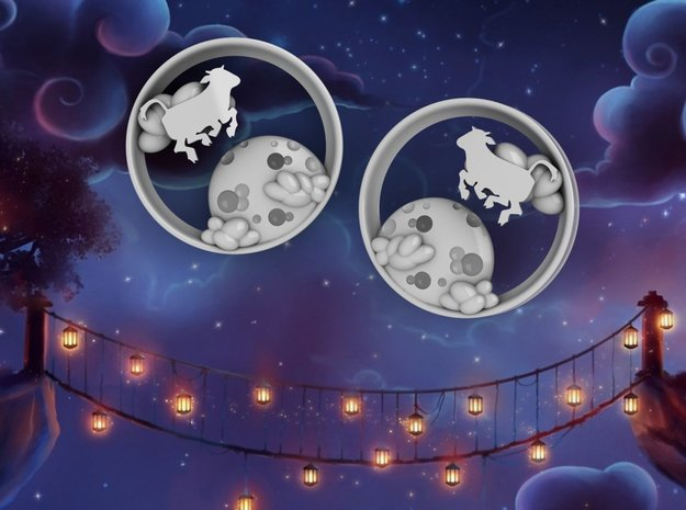 3 Inch Cow Over The Moon Tunnels in White Strong & Flexible Polished