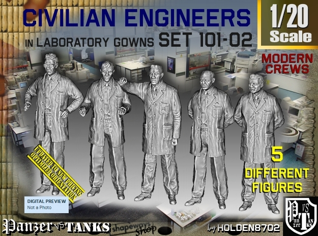 1/20 Engineers Set101-02 in White Natural Versatile Plastic