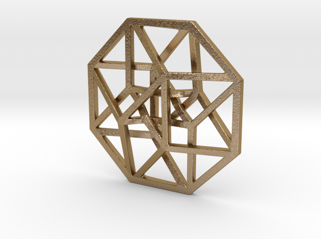 4D Hypercube (Tesseract) small in Polished Gold Steel