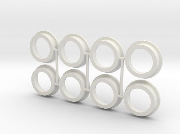 """8 Portholes (1"""" or 26mm outside diameter) in White Natural Versatile Plastic"""