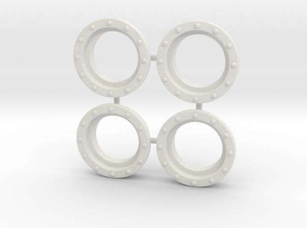 """4 Portholes (1"""" or 26mm outside diameter) in White Natural Versatile Plastic"""