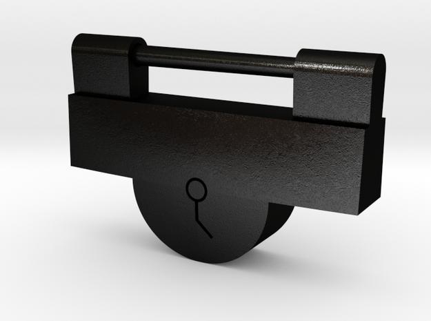 Japanese Ancient Padlock Type2 in Matte Black Steel