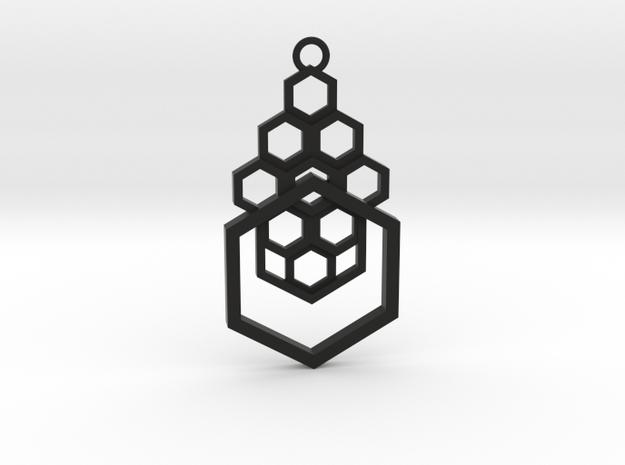 Geometrical pendant no.4 in Black Natural Versatile Plastic: Medium