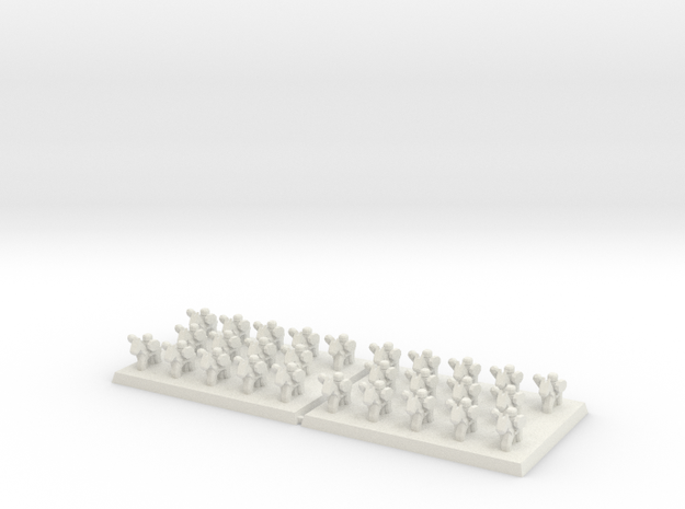 3mm DBA Ligh Cavalry w Spears 40x30mm (x2) in White Natural Versatile Plastic