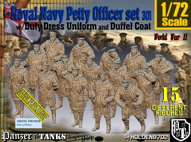1/72 Royal Navy DC Petty Officers Set301 in Smooth Fine Detail Plastic