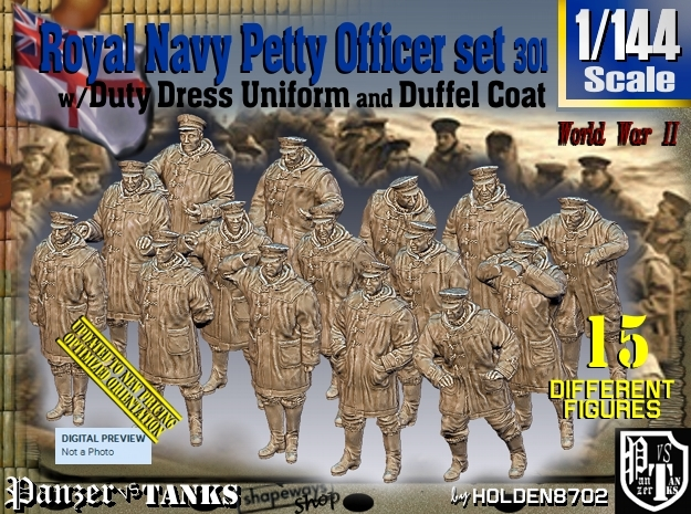 1/144 Royal Navy DC Petty OffIcer Set301 in Smooth Fine Detail Plastic