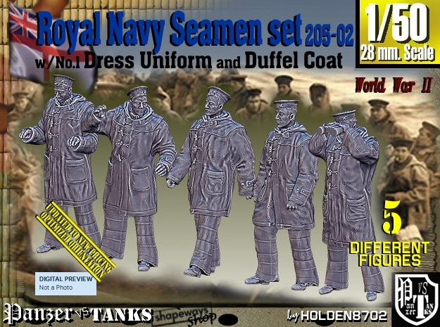 1/50 Royal Navy Seamen DC+No1 Set205-02 in Smooth Fine Detail Plastic
