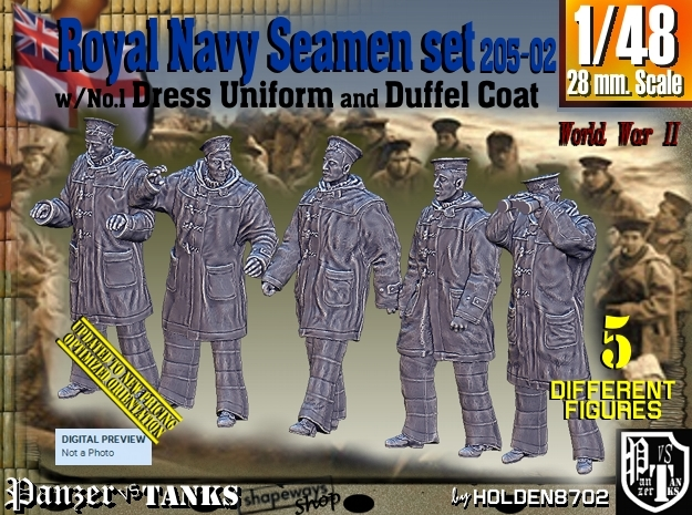 1/48 Royal Navy Seamen DC+No1 Set205-02 in Smooth Fine Detail Plastic