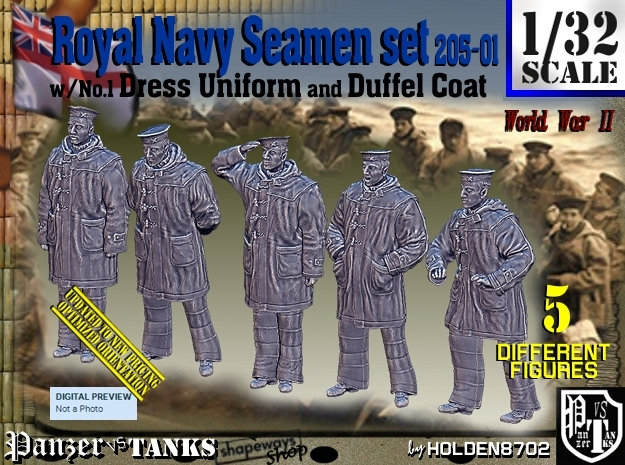 1/32 Royal Navy Seamen DC+No1 Set205-01 in Smooth Fine Detail Plastic
