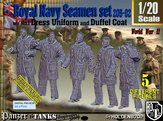 1/20 Royal Navy Seamen DC+No1 Set205-02 in White Natural Versatile Plastic