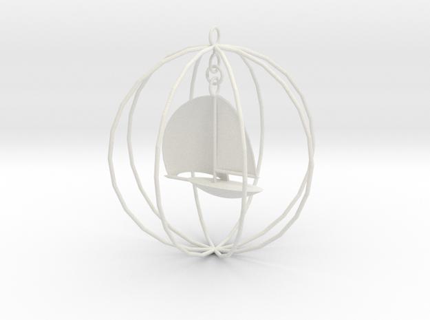 Sailboat ornament in White Natural Versatile Plastic