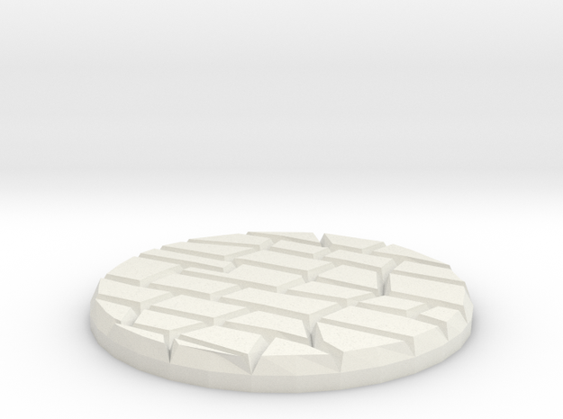 "Dungeon Floor 1"" Circular Miniature Base Plate in White Natural Versatile Plastic"