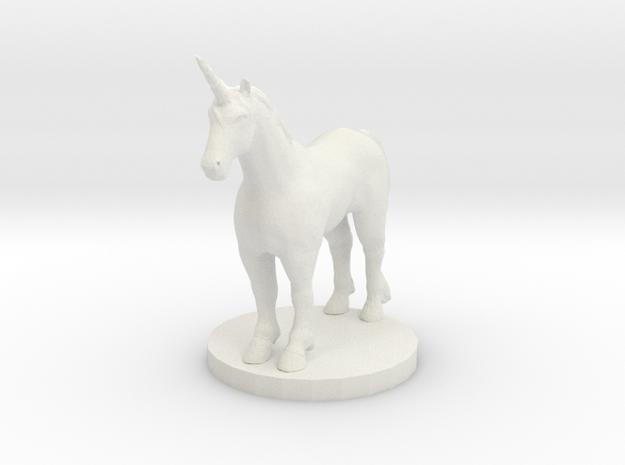 Standing Unicorn in White Natural Versatile Plastic
