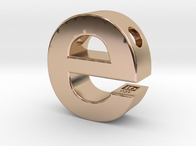Typeberlin E Pendant in 14k Rose Gold Plated Brass