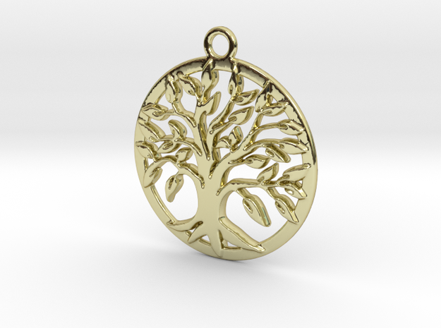Tree of life and circle intertwined in 18k Gold Plated Brass