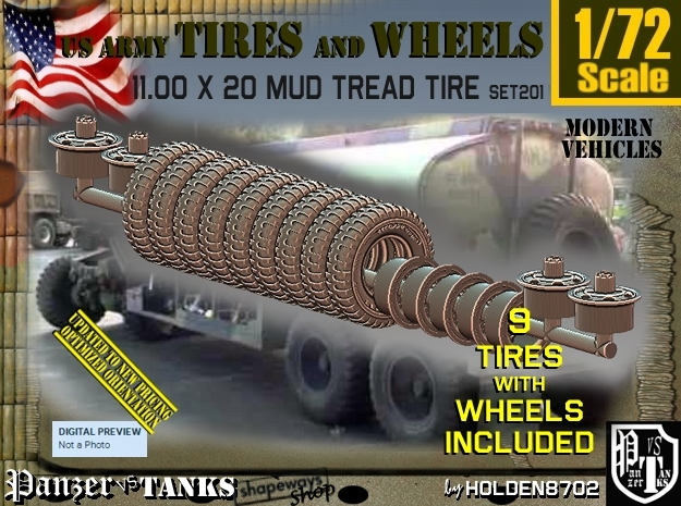 1/72 1100X20 tires+wheels set 201 in Smooth Fine Detail Plastic